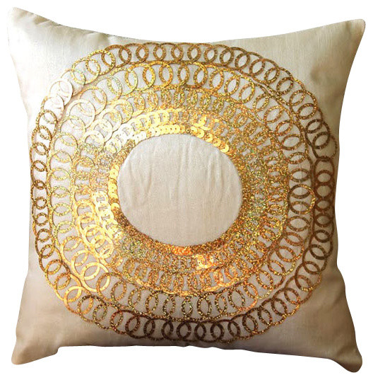 Metallic Gold Sequins Gold Art Silk 16x16 Decorative Pillow Covers