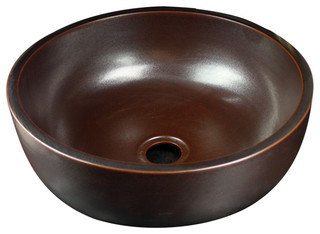 Dawn ceramic hand painted vessel sink round shape brown for Kitchen cabinets 08234