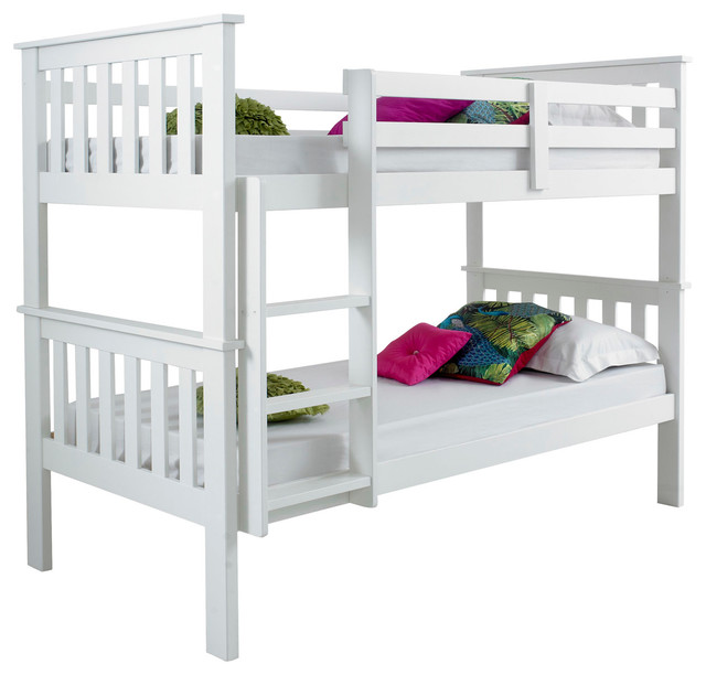 Atlantis White Wooden Bunk Bed Modern Bunk Beds by