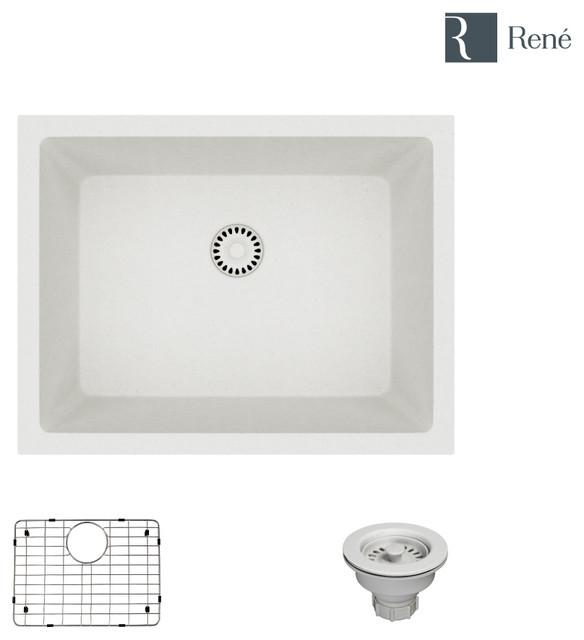 R3-1004-IVR Single Bowl Composite Granite Sink, Ivory, Strainer