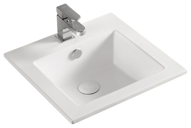 Square White Ceramic Self Rimming Bathroom Sink, One Hole