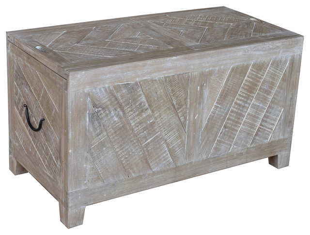 Bengal Manor Light Mango Wood Sliding Top Cocktail Table With Wine Storage Rustic Coffee