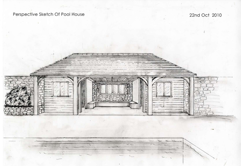 Perspective sketch of the pool house