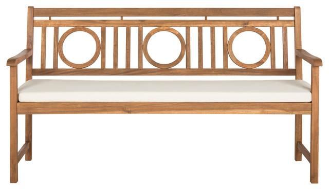 Safavieh Montclair Indoor/outdoor 3-Seat Bench, Teak Brown And Beige.