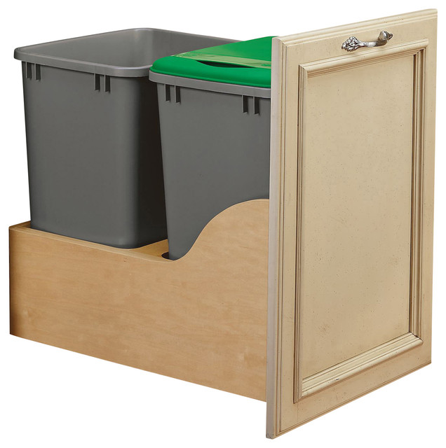Rev-A-Shelf, Double 50 Quart Bottom Mount Waste Container, Natural, 24.25.