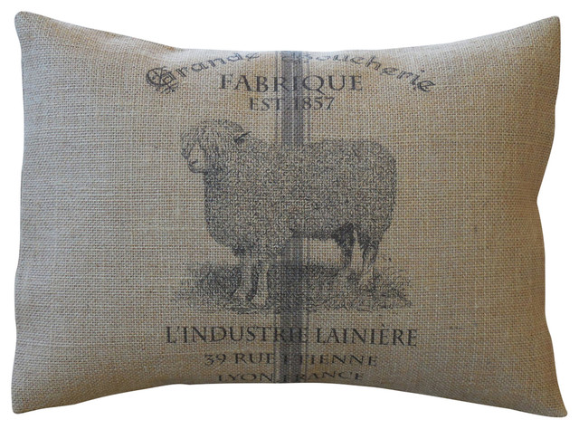 "French Sheep Burlap Pillow, 12""x16""."