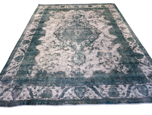 10x12 Hand Knotted Silver U0026 Teal Overdyed Persian Tabrez Oriental Rug  Traditional Area Rugs