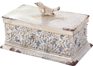 Metal Square Filigree Container
