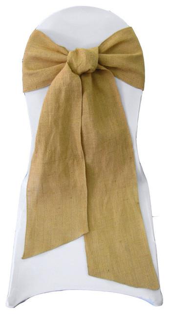 Tremendous La Linen Natural Burlap Chair Bow Sashes 8X108 10 Pack Natural Pabps2019 Chair Design Images Pabps2019Com