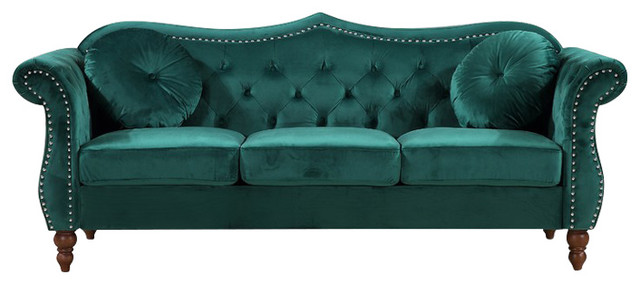 Holder Nailhead Chesterfield Sofa, Green.