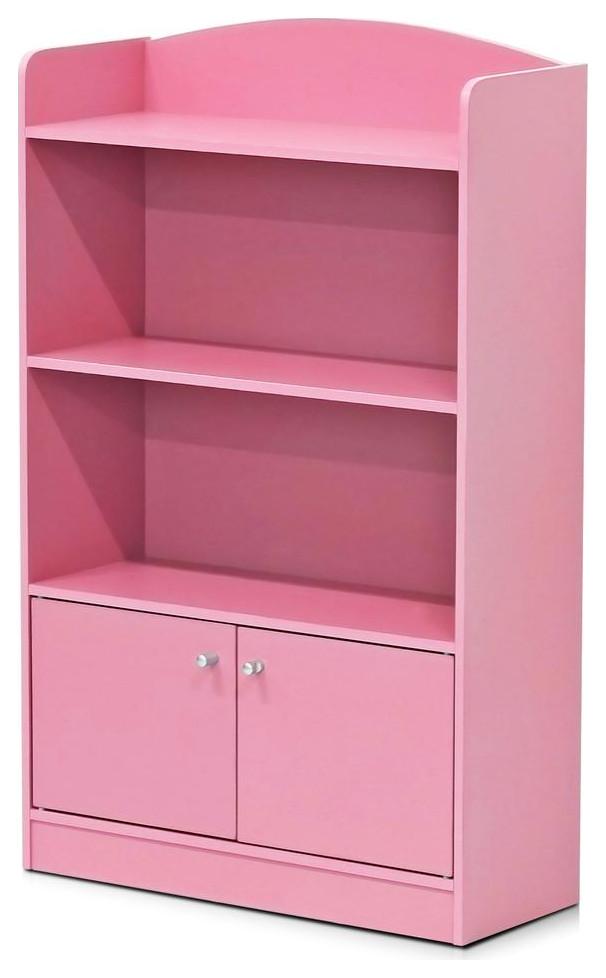 Pink 4 Cube Bookcase Storage Organizer Wooden Home Office Shelving Bookshelf