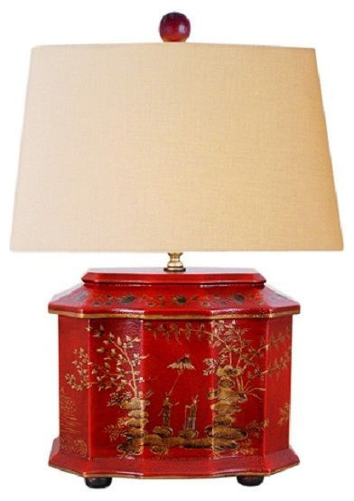 Chinese Red Lacquer Wooden Box River Scene Table Lamp