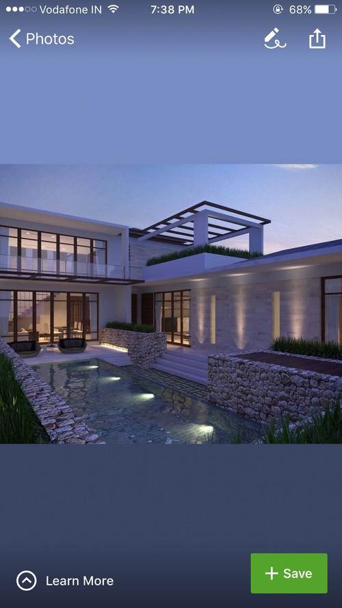 1st Floor Swimming Pool Beside House Construction Plans