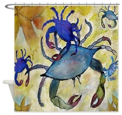 Sandy Crab Shower Curtain Beach Style Shower Curtains