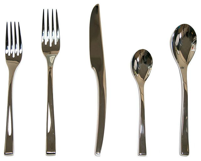 Steel Place Setting, Set Of 5 Modern Flatware And Silverware Sets