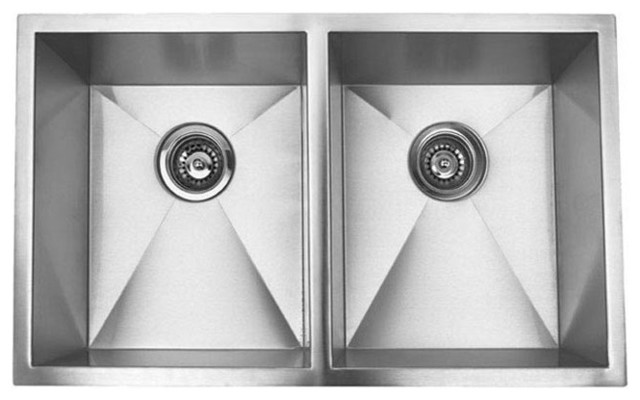 Undermount Double Bowl Kitchen Sink Brushed Stainless Steel 32 Contemporary