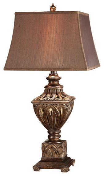 "Monticello Rich Bronze Finish Resin Table Lamp 34 1/4""."