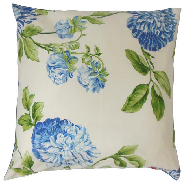 Zarina Floral Floor Pillow Bluebell Contemporary Floor