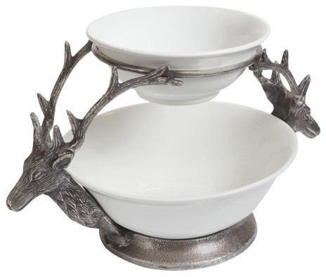 Antler Two Tier Bowl Rustic Decorative Bowls By Go Home Ltd