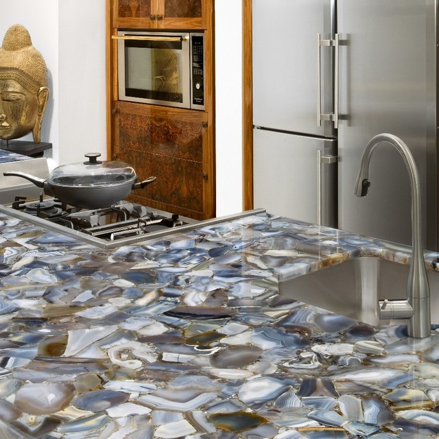 Kitchen Gray Granite Countertops : Grey agate countertop semi precious eclectic miami