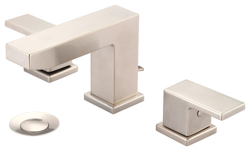 Two Handle Lavatory Widespread Faucet, PVD Brushed Nickel, Pvd Brushed Nickel