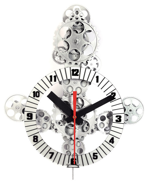 Large Moving Gear Wall Clock With Plastic Dial Ring Industrial