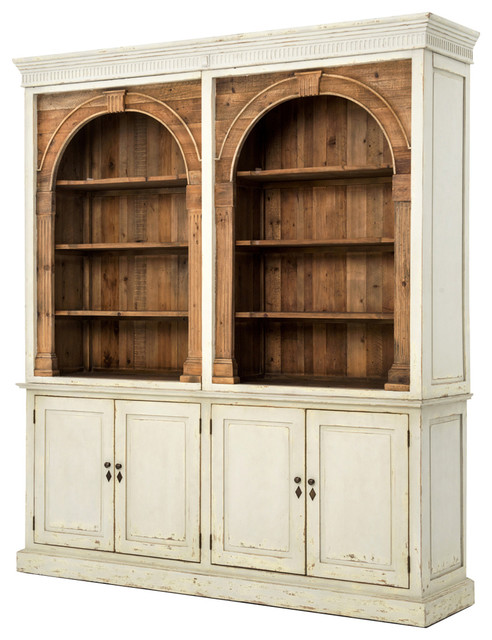 Laurine French Country Rustic Ivory Arch Wood Cabinet - Traditional - Wine And Bar Cabinets - by ...