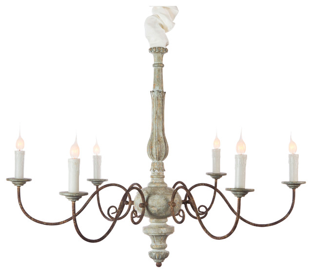 Avignon French Country Blue Cream Iron Scroll Chandelier Traditional Chandeliers