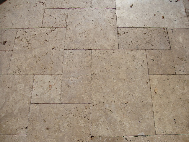 Noce Tumbled Versailles Pattern Travertine Landscape Paver Patio Project  Traditional