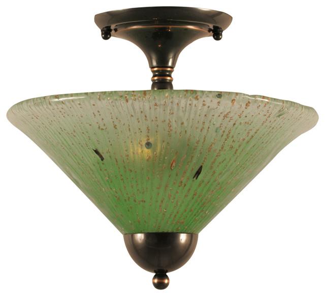 "Semi-Flush With 2 Bulbs In Black Copper, 12"" Kiwi Green Crystal Glass."