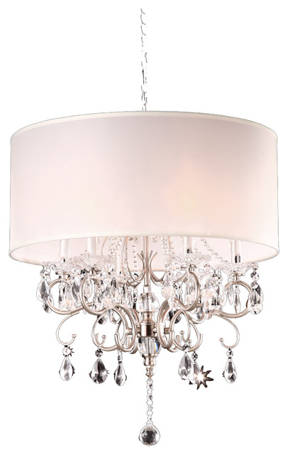 21 Tall Metal Chandelier With Silver Finish White Shade Crystal Accents