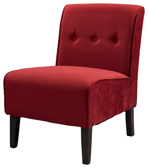 Coco Accent Chair, Red, 22.5W X 30D X 33H, Dark Walnut