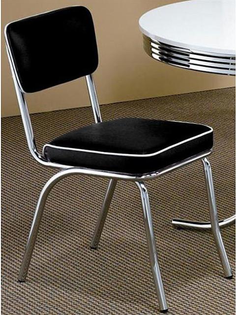 Black Retro Chrome Chairs Set Of 2 Contemporary