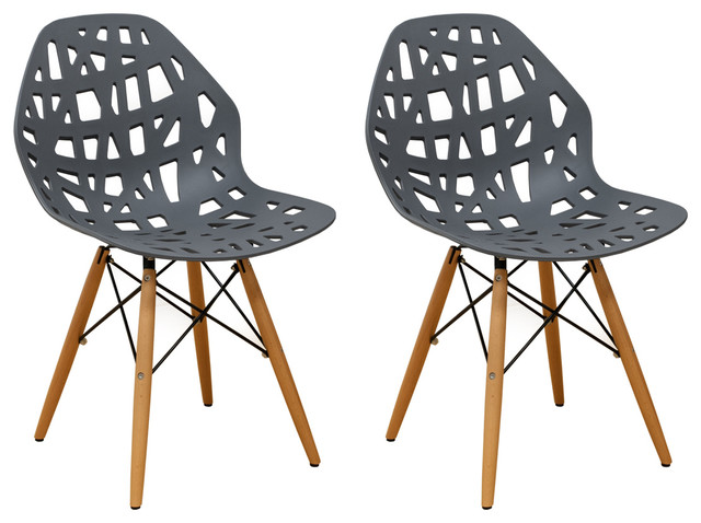 Marvelous Stencil Cut Out Eiffel Dining Side Chair Set Of 2 Dark Grey Bralicious Painted Fabric Chair Ideas Braliciousco