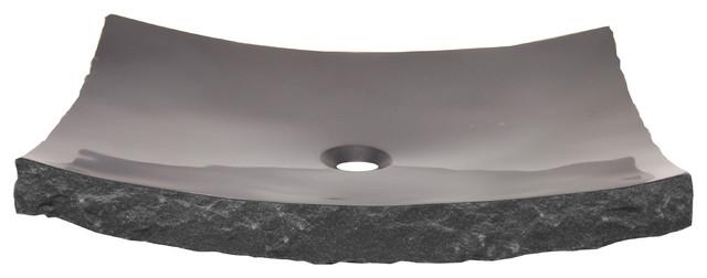 Eden Bath S014bk-P Large Black Granite Zen Sink