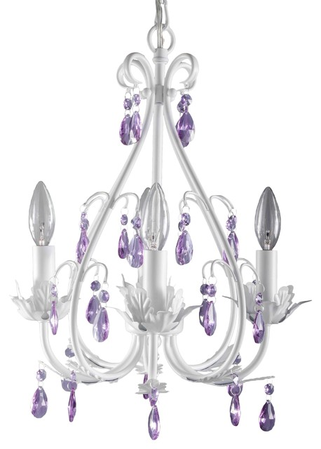 Sophia Chandelier Purple Crystal, 4-Lights - Contemporary - Kids ...