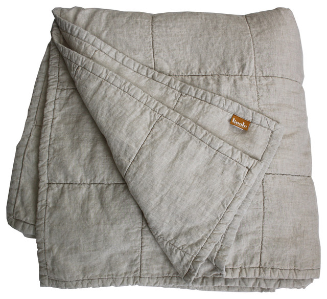 Quilted Linen Coverlet Natural Cotton Fill Comforter