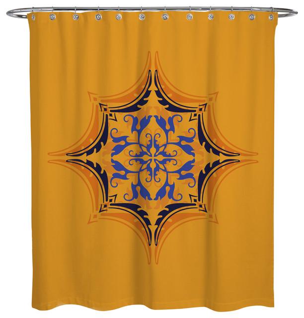 Shower curtain arabian crest v1 mediterranean shower for Crest home designs curtains