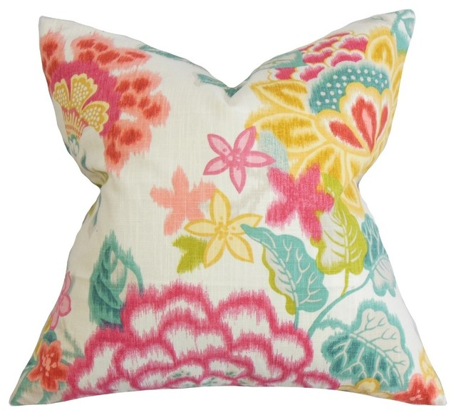 Pink Floral Decorative Pillows : Lindsay Floral Pillow, Pink - Contemporary - Decorative Pillows - by The Pillow Collection