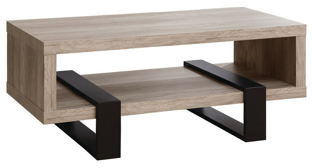 Contemporary Living Room Wood Coffee Table With Black Metal Legs