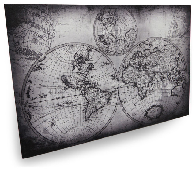 Zeckos black and gray early world style map wall hanging 36 black and gray early world style map wall hanging 36 traditional prints and gumiabroncs Images
