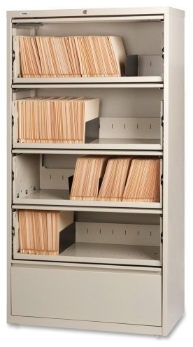 Lorell Receding Lateral File Cabinet With Roll Out Shelves - Filing Cabinets - by Alliance Supply