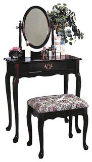Queen Anne Style Vanity Set Bathroom Makeup Table Stool Swivel Mirror Victo