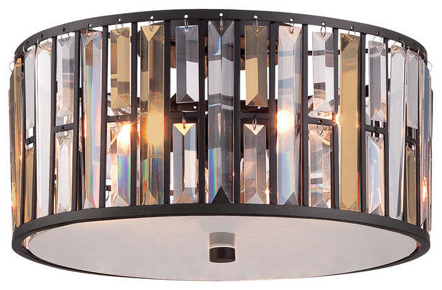Gemma Contemporary Flush Ceiling Light, Vintage Bronze