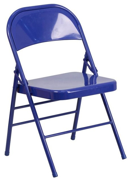 Metal Folding Chair, Blue Contemporary Outdoor Folding Chairs