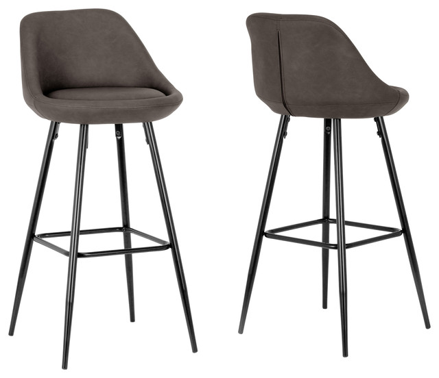 Aldis Brown Faux Leather Bar Stools With Black Metal Legs