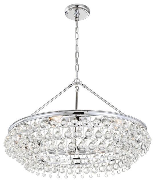 crystorama calypso 6light crystal teardrop chrome chandelier - Crystorama