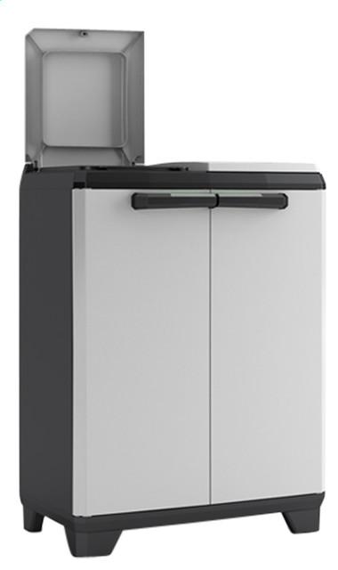 Split Waste Separation Cabinet Contemporary Trash Cans