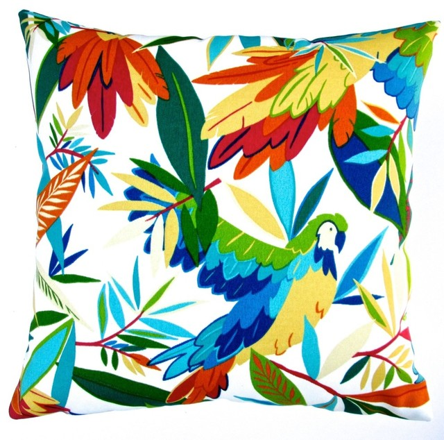 "Artisan Pillows Outdoor 18"" Tropical Birds Throw Pillow, Set of 2"