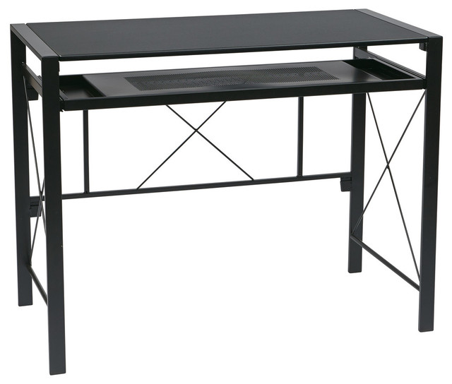 Creston Desk With Black Frame And Blacktop.